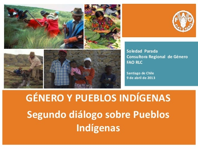 Soledad Parada Consultora Regional de Género FAO RLC Santiago de Chile 9 de abril de 2013 GÉNERO Y PUEBLOS INDÍGENAS Segun...