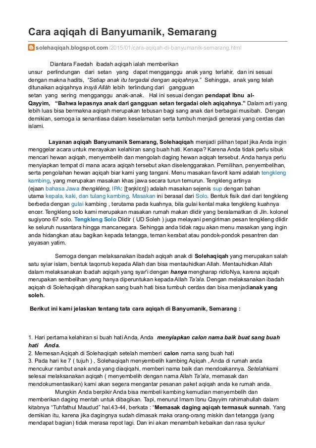 solehaqiqah blogspot com cara aqiqah di banyumanik semarang
