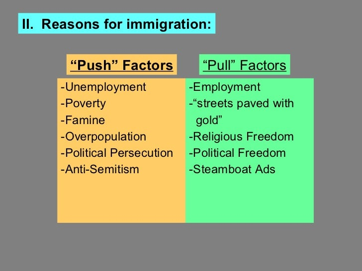 "india push pull factors Table 121 india: proportion of in migrants according to causes of migration,  1991:  in other words, cities pull people from other areas this is known as ""pull  factor"" people also migrate due to 'push factors' such as unemployment, hunger ."