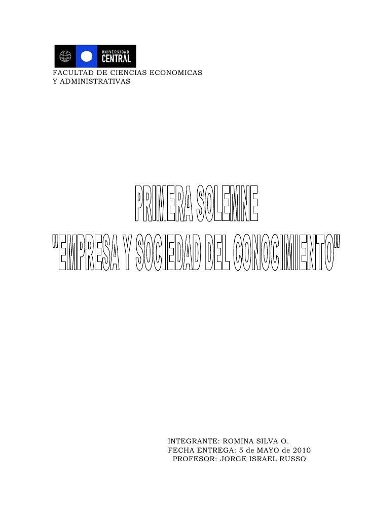 FACULTAD DE CIENCIAS ECONOMICAS Y ADMINISTRATIVAS                            INTEGRANTE: ROMINA SILVA O.                  ...