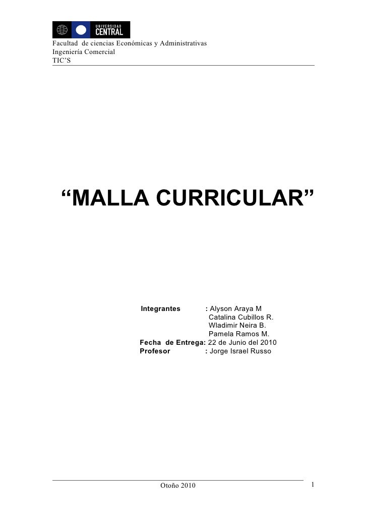 """Facultad de ciencias Económicas y Administrativas Ingeniería Comercial TIC'S       """"MALLA CURRICULAR""""                     ..."""