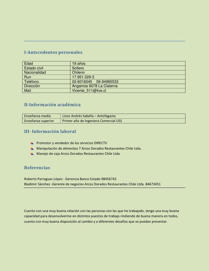 I-Antecedentes personales  Edad                         19 años Estado civil                 Soltero Nacionalidad         ...