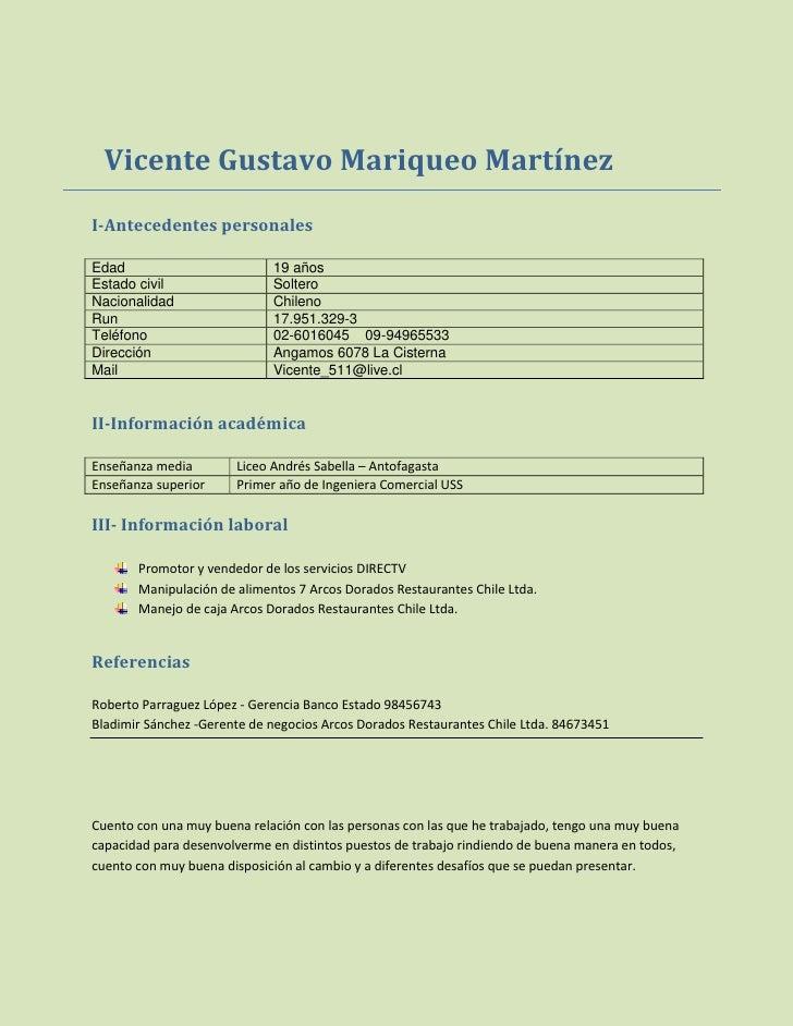 Vicente Gustavo Mariqueo Martínez I-Antecedentes personales  Edad                         19 años Estado civil            ...