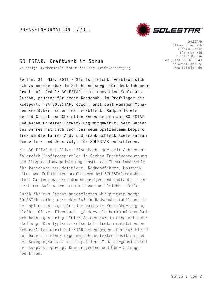 PRESSEINFORMATION 1/2011                                                                         SOLESTAR                 ...