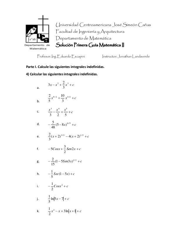 Universidad Centroamericana José Simeón Cañas Facultad de Ingeniería y Arquitectura Departamento de Matemática Solución Pr...