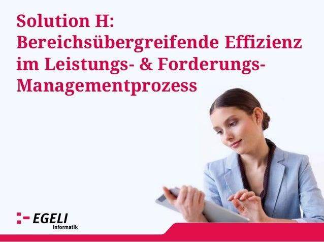 Solution H: Bereichsübergreifende Effizienz im Leistungs- & Forderungs- Managementprozess