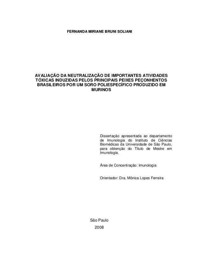 FFEERRNNAANNDDAA MMIIRRIIAANNEE BBRRUUNNII SSOOLLIIAANNII Dissertação apresentada ao departamento de Imunologia do Institu...