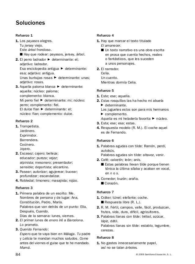 Soliciones actividades de ampliación y refuerzo de lengua 6º