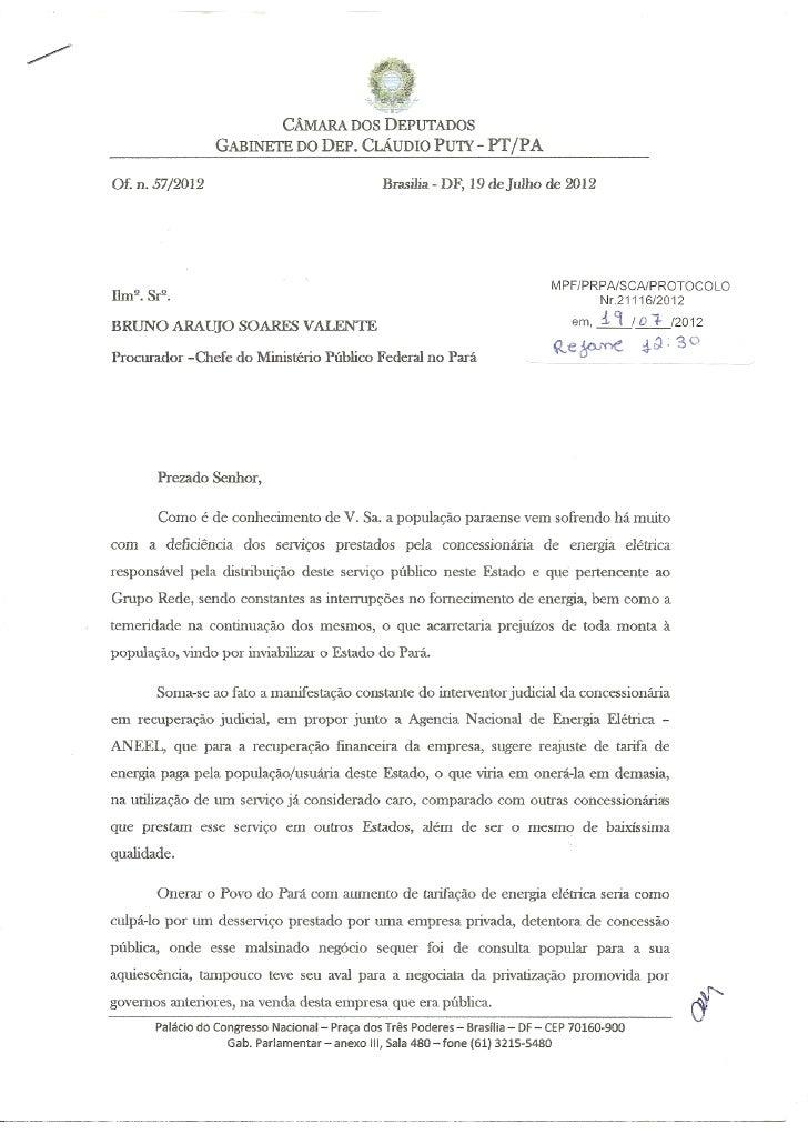 Solicitação para intervenção do MPF contra o aumento da tarifa de energia