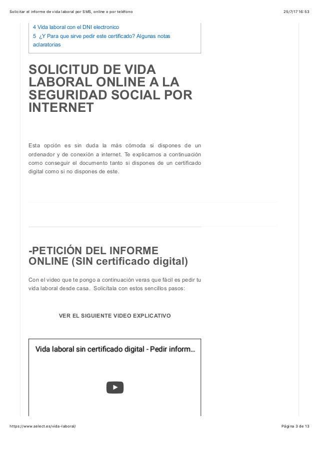 Solicitar El Informe De Vida Laboral Por Sms Online O Por Telefono
