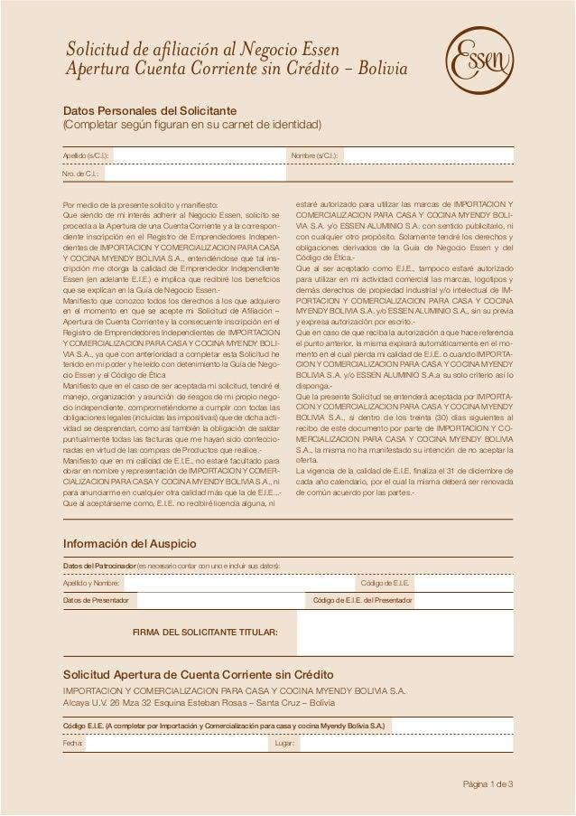 Solicitud de afiliación al Negocio Essen  Apertura Cuenta Corriente sin Crédito - Bolivia  Datos Personales del Solicitant...