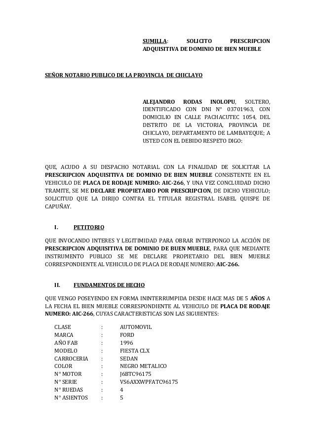 Solicito prescripcion vehicular via notarial