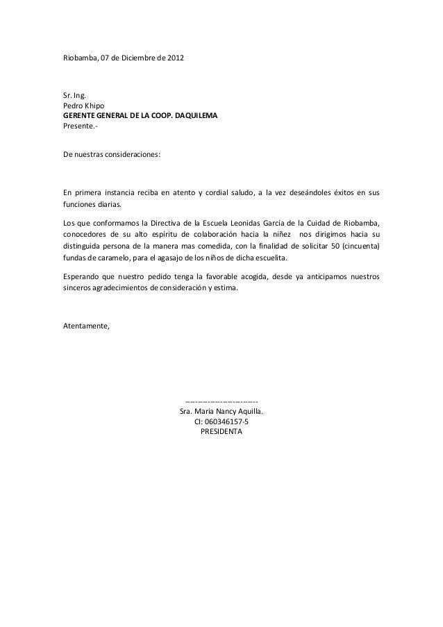 Riobamba, 07 de Diciembre de 2012Sr. Ing.Pedro KhipoGERENTE GENERAL DE LA COOP. DAQUILEMAPresente.-De nuestras consideraci...