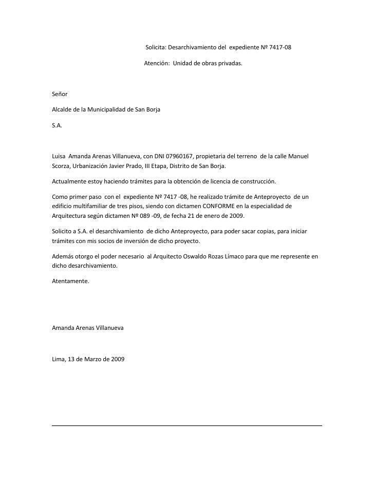 Solicita: Desarchivamiento del expediente Nº 7417-08                                    Atención: Unidad de obras privadas...
