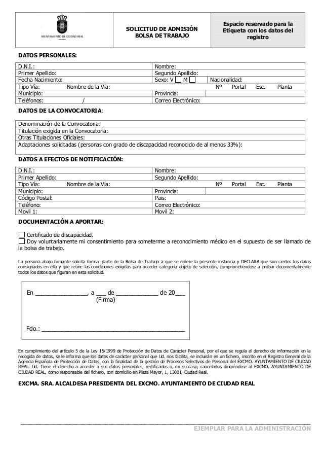 Solicitud bolsas formulario - Ofertas de trabajo en puerto real ...