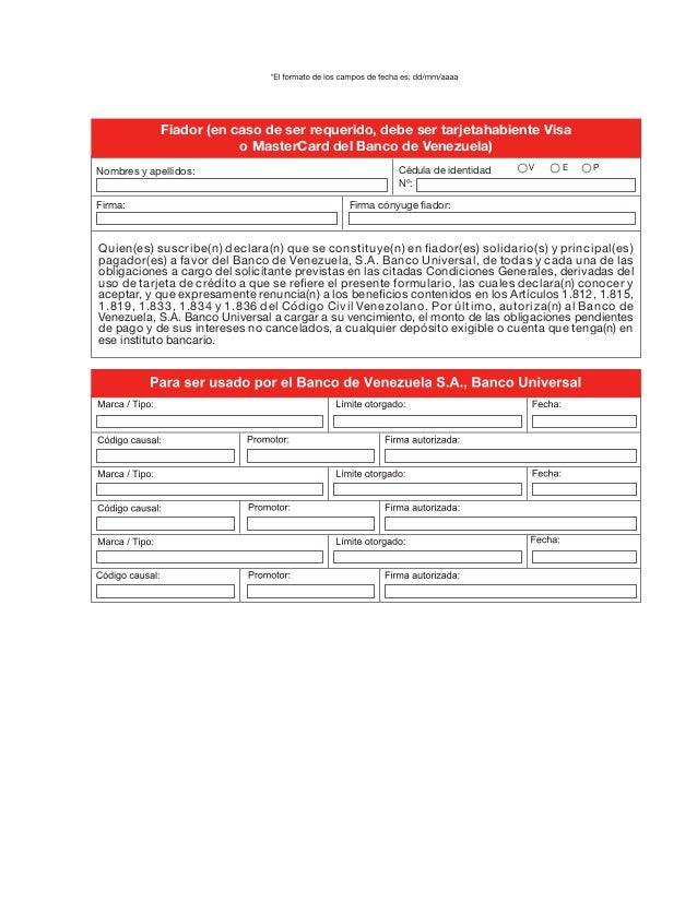 Descargar planilla de solicitud de tarjeta de credito for Banco de venezuela solicitud de chequera