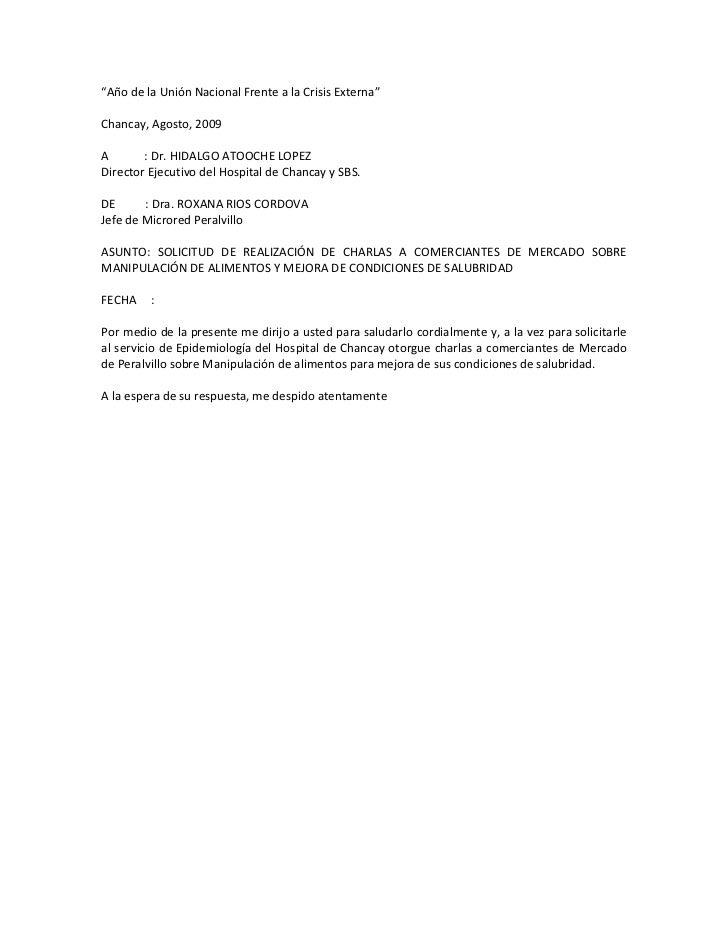 """""""Año de la Unión Nacional Frente a la Crisis Externa""""<br />Chancay, Agosto, 2009<br />A            : Dr. HIDALGO ATOOCHE L..."""