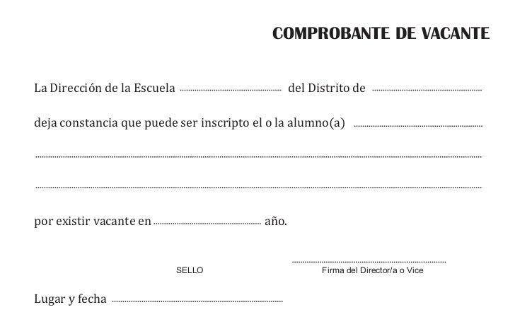 COMPROBANTE DE VACANTELa Dirección de la Escuela                       del Distrito dedeja constancia que puede ser inscri...