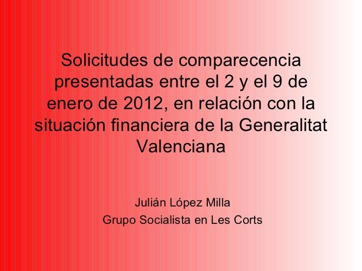 Solicitudes de comparecencia presentadas entre el 2 y el 9 de enero de 2012, en relación con la situación financiera de la...