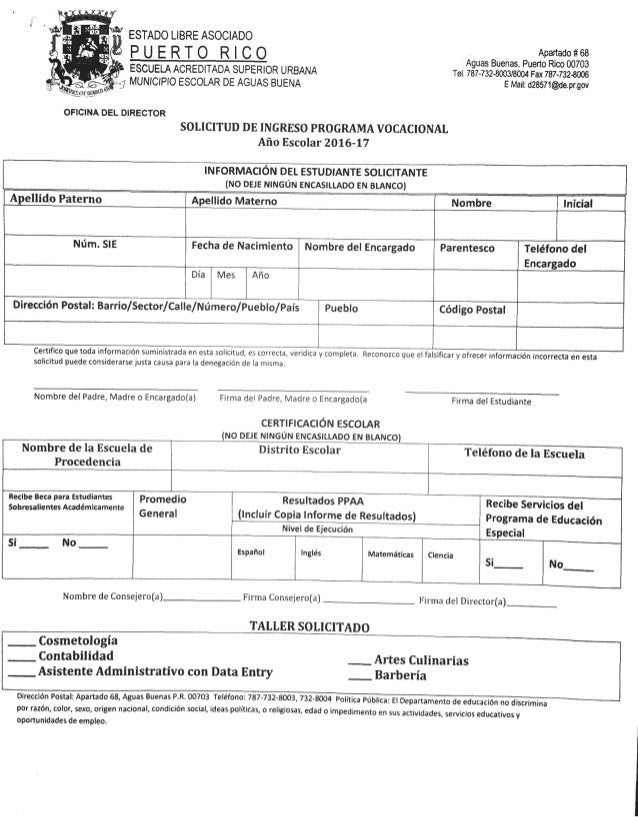 Solicitudes de escuelas superiores 2016 17 for Oficina de empleo por codigo postal
