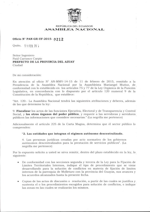 REPÚBLICA DEL ECUADOR ASAMBLEA NACEIONAL  Oficio N° PAN-GR-UF-20l5- 0 2 1 2  Quito:  1 1 FEB.  7317i  Señor Ingeniero  Paúl...