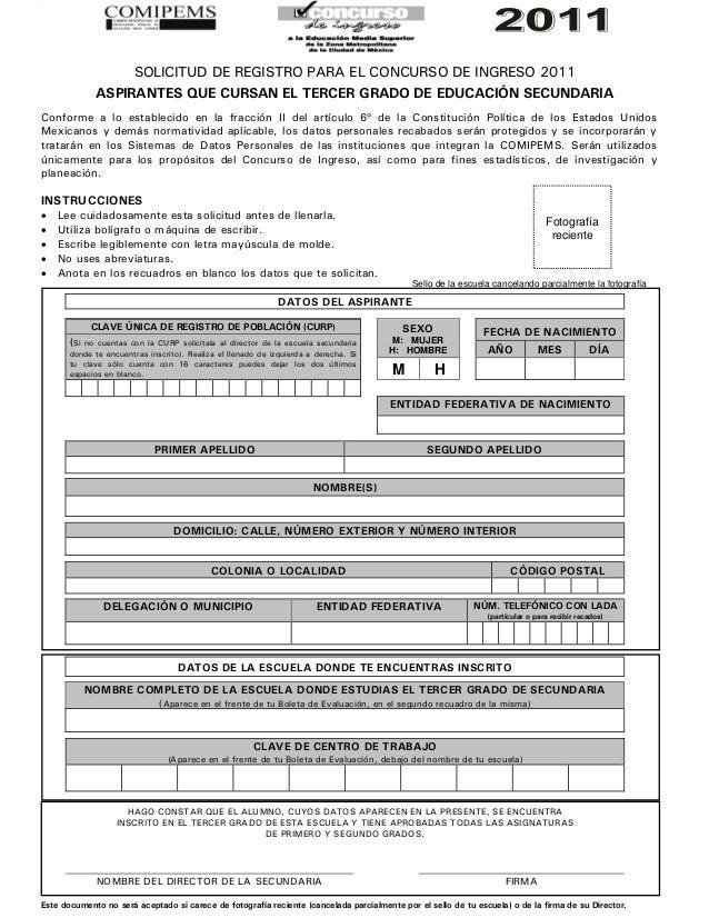 0.                        SOLICITUD DE REGISTRO PARA EL CONCURSO DE INGRESO 2011               ASPIRANTES QUE CURSAN EL TE...