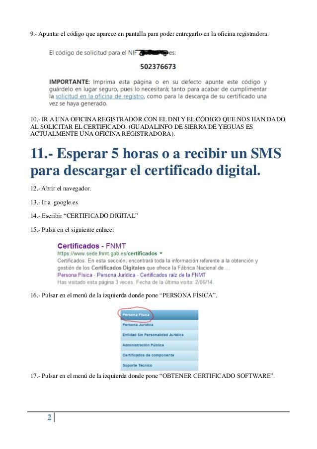 Guia sobre como solicitar y descargar un certificado for Oficina certificado digital
