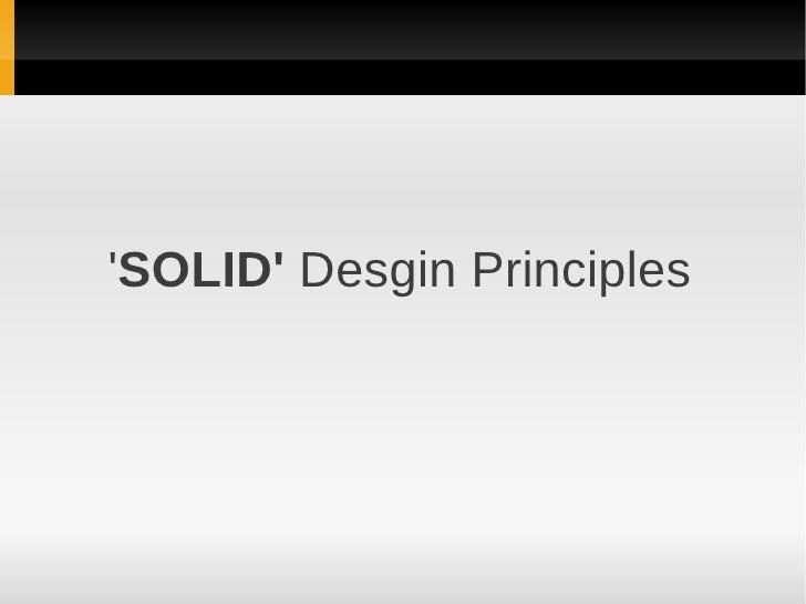 SOLID Desgin Principles