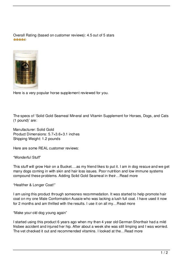 Solid Gold Seameal Mineral And Vitamin Supplement For