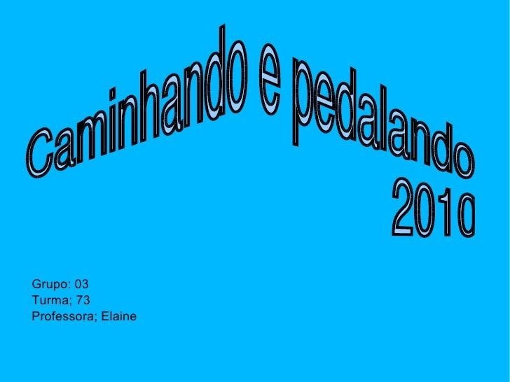 Caminhando e pedalando  2010 Grupo: 03 Turma; 73 Professora; Elaine