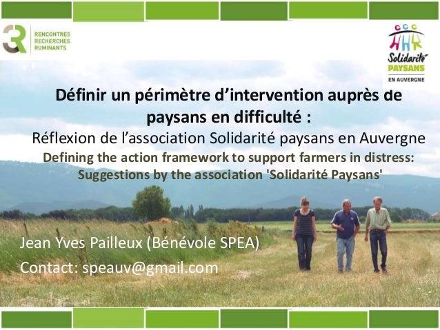 Définir un périmètre d'intervention auprès de paysans en difficulté : Réflexion de l'association Solidarité paysans en Auv...