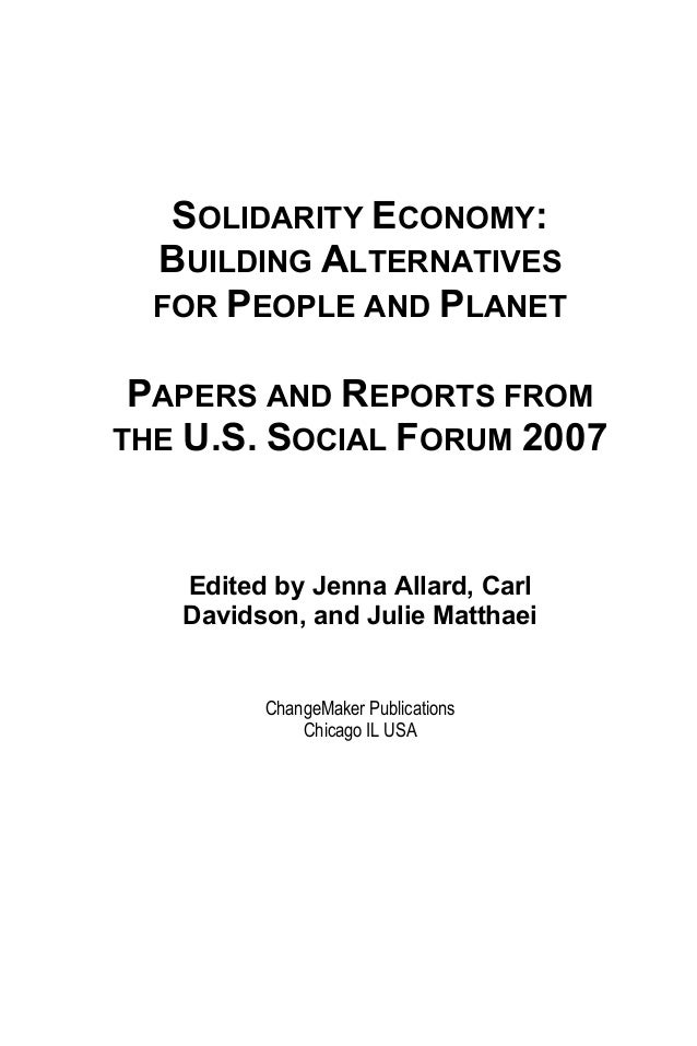 Solidarity Eocnomy Building Alternatives For People And Planet Papers