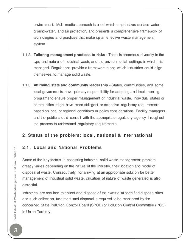 Solid industrial waste management & law - MBA project report