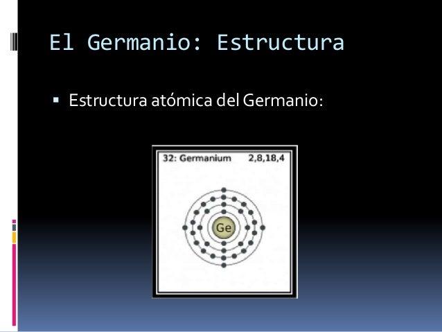 El Germanio: Estructura Estructura atómica del Germanio: