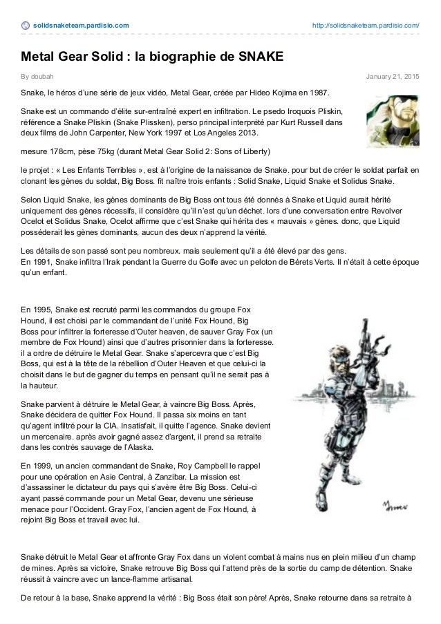 solidsnaketeam.pardisio.com http://solidsnaketeam.pardisio.com/ By doubah January 21, 2015 Metal Gear Solid : la biographi...