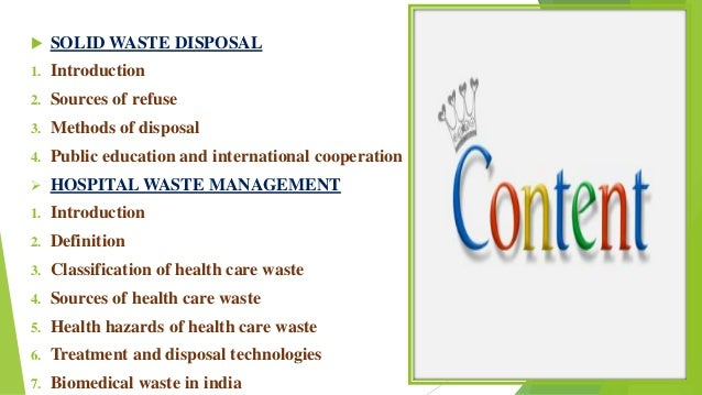 Solid Waste Disposal And Hospital Waste Management