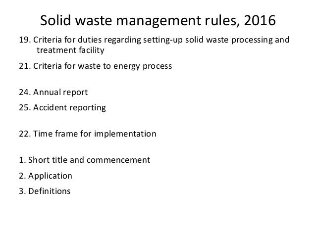 Regulatory Requirements Of Solid Waste Management Indian