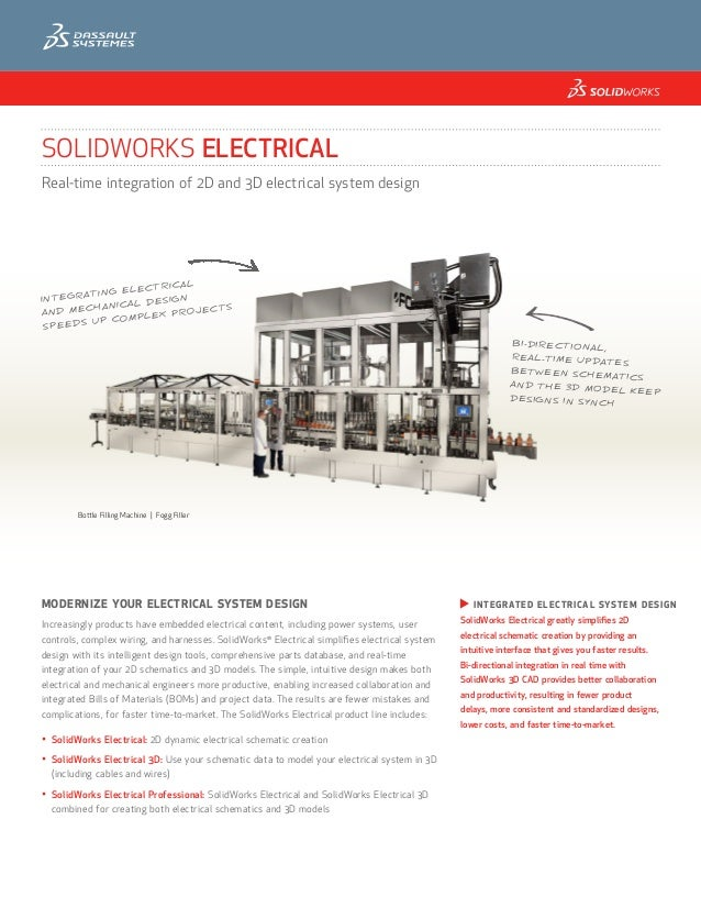 SOLIDWORKS ELECTRICALReal-time integration of 2D and 3D electrical system design                    RICAL             ELEC...