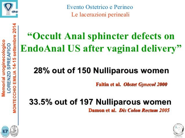 """28% out of 150 Nulliparous women28% out of 150 Nulliparous women """"Occult Anal sphincter defects on EndoAnal US after vagin..."""