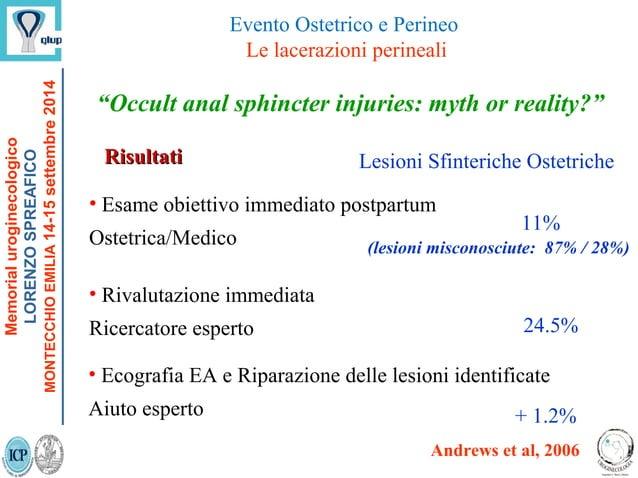 """Occult anal sphincter injuries: myth or reality?"" Andrews et al, 2006 RisultatiRisultati Lesioni Sfinteriche Ostetriche •..."
