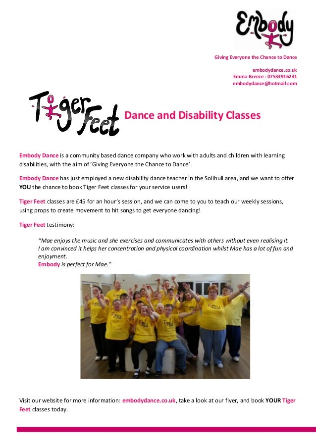 Giving Everyone the Chance to Danceembodydance.co.ukEmma Breeze : 07533916231embodydance@hotmail.comDance and Disability C...