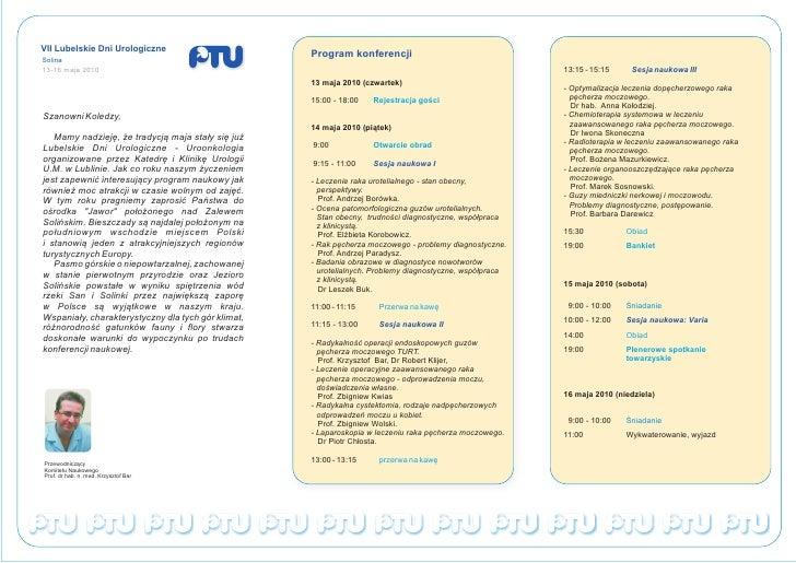 VII Lubelskie Dni Urologiczne                                                     Program konferencji Solina 13-16 maja 20...