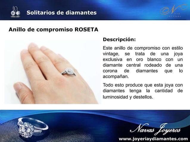 Solitarios de diamantes Anillo de compromiso con diamantes REALEZA Descripción: Acompañado también de diamantes en los bra...