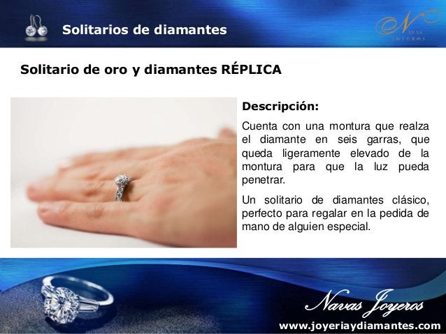 Solitarios de diamantes Solitario con diamantes MARTA Descripción: Modelo clásico de anillo de compromiso con sujeción de ...