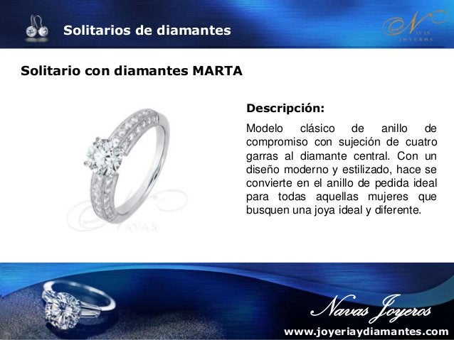Solitarios de diamantes Anillo de compromiso BAILARINA Descripción: Modelo clásico de brillantes y oro blanco.  solitario ...