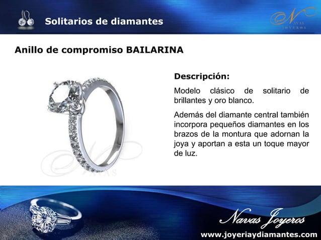 Solitarios de diamantes Solitario de oro con diamantes DENIA Descripción: Anillo de compromiso exclusivo, donde el diamant...