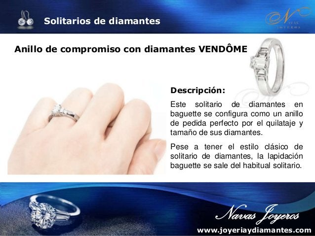 Solitarios de diamantes Solitario de diamantes de diseño BROADWAY Descripción: Solitario de diamantes con un diseño espect...