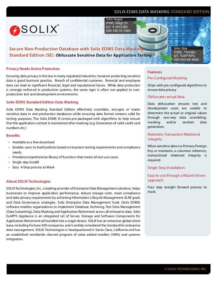 SOLIX EDMS DATA MASKIING STANDARD EDITION                                                                     John Huges  ...
