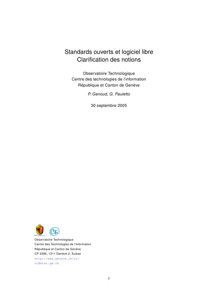 Standards ouverts et logiciel libre                         Clarification des notions                               Observa...