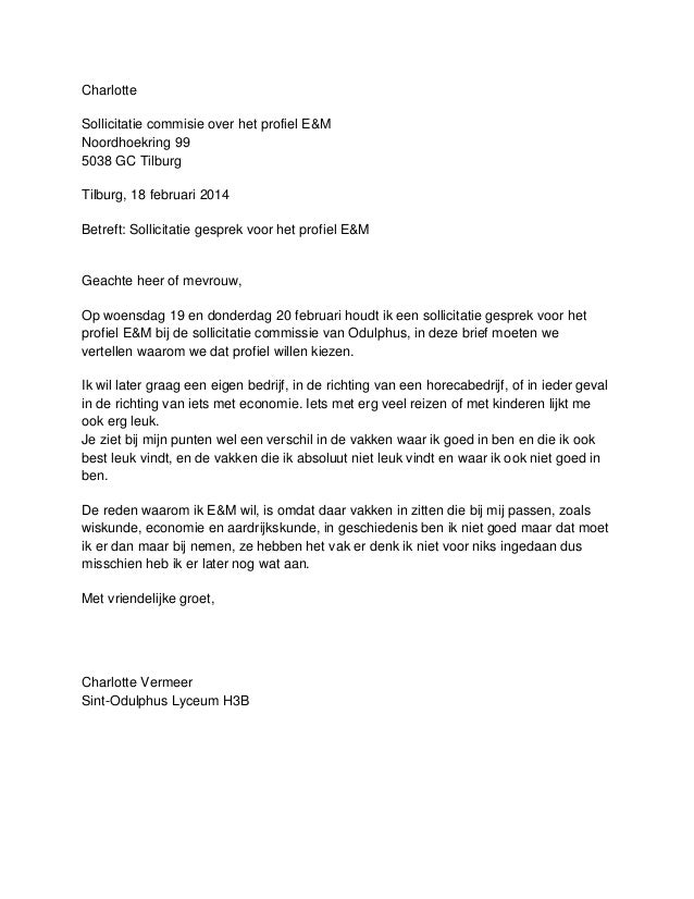 motivatiebrief commissie Sollicitatiebrief E&M motivatiebrief commissie